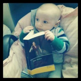 Little Enis reading Jane Austen